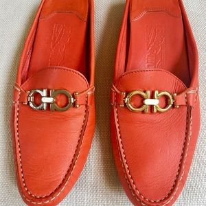 Salvatore Ferragamo Orange Mules Gold Horsebit 8